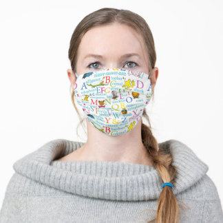 Dr. Seuss's ABC Pattern with Words Adult Cloth Face Mask