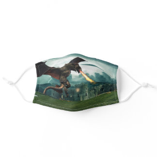 Dragon Flying Breathing Fire Wyvern Castle Adult Cloth Face Mask