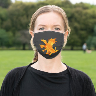 Dragon silhouette  - flame adult cloth face mask