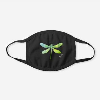 Dragonfly Green Blue Cute Custom Girly Black Cotton Face Mask