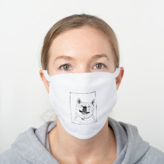 drawing of funny cute akita smiling dog white cotton face mask