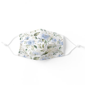 Dusty Blue Ivory Rose White Hydrangea Peony Floral Adult Cloth Face Mask