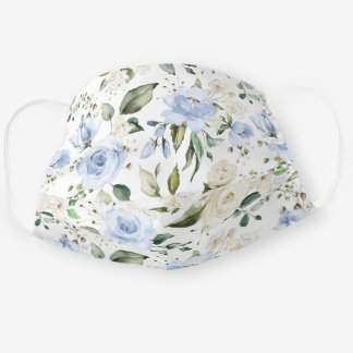 Dusty Blue Ivory Rose White Hydrangea Peony Floral Cloth Face Mask