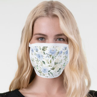 Dusty Blue Ivory Rose White Hydrangea Peony Floral Face Mask