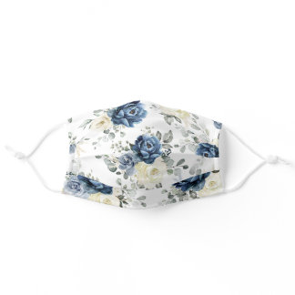Dusty Blue Navy Champagne Ivory Floral  Adult Cloth Face Mask