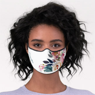Dusty Blue Watercolor Floral Flowers Name Wedding Premium Face Mask