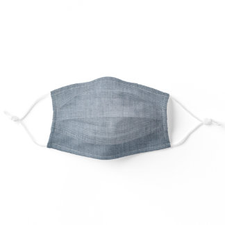 Dusty Blue Woven Fabric Pattern Printed Adult Cloth Face Mask