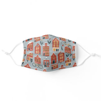 Dutch Houses Amsterdam Tulips Bikes Pattern Adult Cloth Face Mask
