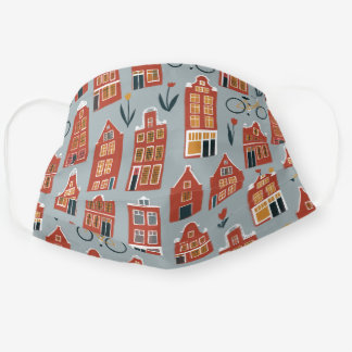 Dutch Houses Amsterdam Tulips Bikes Pattern Cloth Face Mask