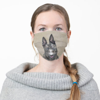 Dutch Shepherd Painting - Cute Original Dog Art Adult Cloth Face Mask
