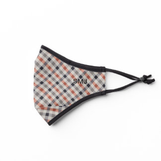 Earth tone classic gingham plaid pattern premium face mask
