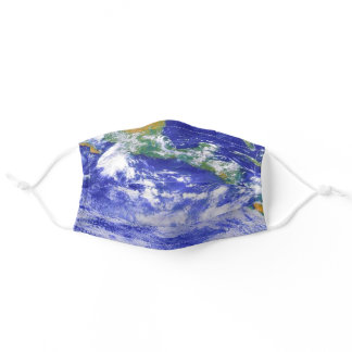 Earth View Continents Oceans Space Theme Adult Cloth Face Mask