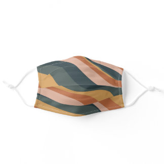 Earthy Boho Abstract Wavy Swirl Lines Terracotta Adult Cloth Face Mask