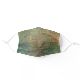 Earthy Modern Strata | Olive Green and Gold Agate Adult Cloth Face Mask