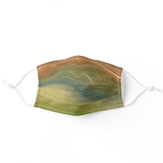 Earthy Retro Strata | Natural Golden Stone Agate Adult Cloth Face Mask