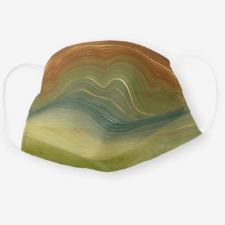 Earthy Retro Strata | Natural Golden Stone Agate Cloth Face Mask