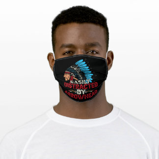 Easily Distracted by arrowhead native american Adult Cloth Face Mask