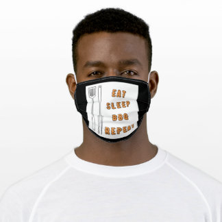Eat sleep bbq repeat adult cloth face mask