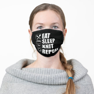 Eat Sleep Knit Repeat Funny Knitting Lover Adult Cloth Face Mask