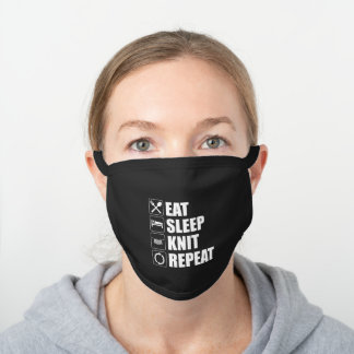 Eat Sleep Knit Repeat Funny Knitting Lover Black Cotton Face Mask