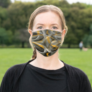 Eighties Retro Mustard Yellow and Grey Abstract Cu Adult Cloth Face Mask