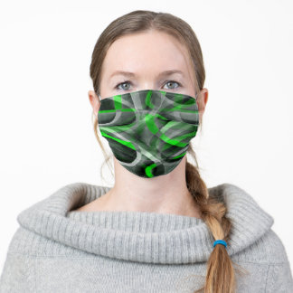 Eighties Retro Neon Green and Grey Curved Line Pat Adult Cloth Face Mask