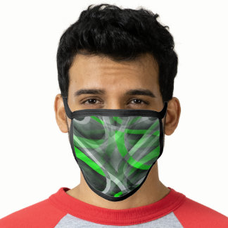 Eighties Retro Neon Green and Grey Curved Line Pat Face Mask