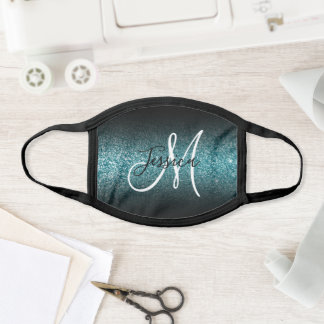 Elegant Black Ombre Teal Glitter Monogram Face Mask