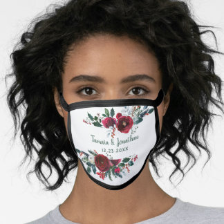 Elegant Burgundy Floral Trendy Christmas Wedding Face Mask