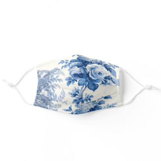 Elegant Chic Blue Roses and Ferns Adult Cloth Face Mask