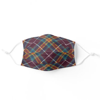 Elegant Chic Deep Fall Autumn Color Plaid Adult Cloth Face Mask
