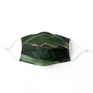 Elegant Chic Emerald Green Gold Agate Marble Adult Cloth Face Mask