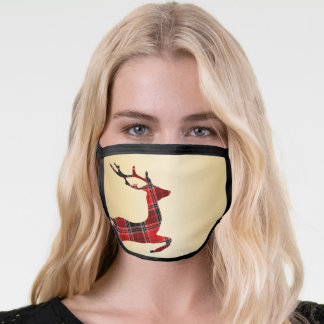 Elegant Christmas Buffalo Plaid Reindeer & Gold Face Mask
