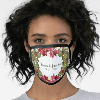 Elegant Christmas Wedding Poinsettia Floral Winter Face Mask
