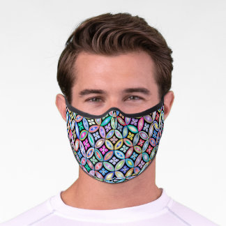 Elegant Colorful Abstract Stained Glass Pattern Premium Face Mask