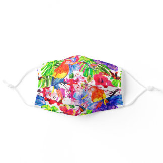Elegant Colorful Flowers And Parrot Bird Adult Cloth Face Mask