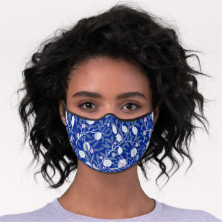 Elegant cool white blue lemon illustrated pattern premium face mask