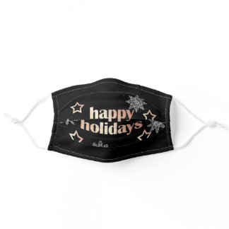 Elegant copper rose gold Happy Holidays Christmas Adult Cloth Face Mask