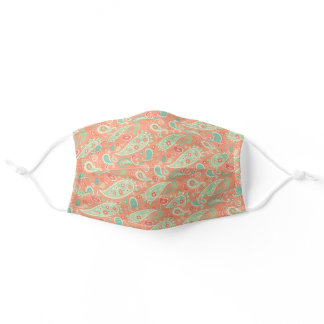 Elegant Coral & Mint Green Floral Paisley Adult Cloth Face Mask