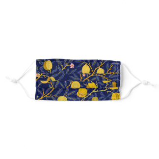 Elegant Fresh Blue Lemon vines pattern Adult Cloth Face Mask