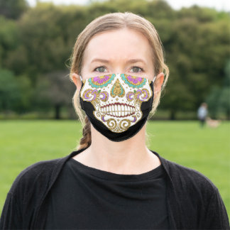 Elegant Glitter Sugar Skull Black Day of the Dead Adult Cloth Face Mask