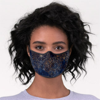 Elegant Gold and Dark Blue Floral Mandala Premium Face Mask