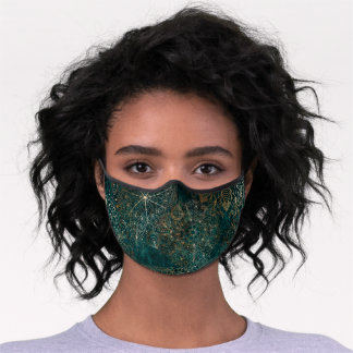 Elegant Gold and Teal Green Floral Mandala Premium Face Mask