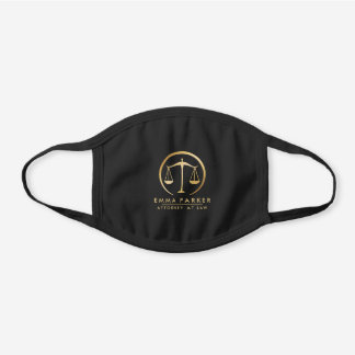Elegant Gold & Black Lawyer Black Cotton Face Mask