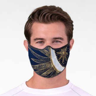 Elegant Gold & Blue Sun Moon Mandala Doodles Art Premium Face Mask