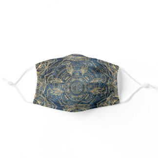 Elegant Gold Mandala Blue Whimsy Design Adult Cloth Face Mask