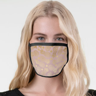 Elegant gold pineapple pattern with dots face mask