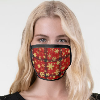 Elegant Gold & Plaid Christmas Snowflake Pattern Face Mask