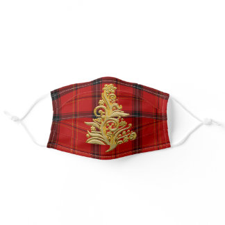 Elegant Gold & Plaid Christmas Tree Adult Cloth Face Mask