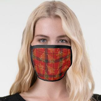 Elegant Gold & Plaid Christmas Tree Pattern Face Mask